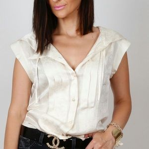 Chanel sleeveless silky blouse